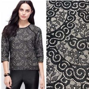 NWT Ann Taylor • Black Lace Bonded Sweater